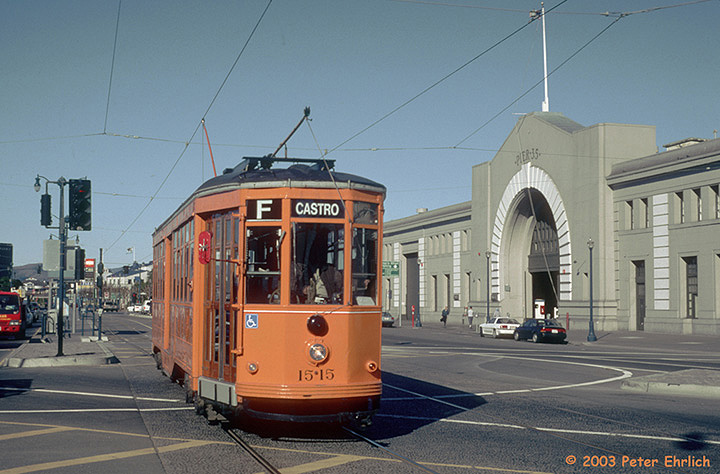 (143k, 720x474)<br><b>Country:</b> United States<br><b>City:</b> San Francisco/Bay Area, CA<br><b>System:</b> SF MUNI<br><b>Location:</b> Embarcadero/Bay <br><b>Car:</b> Milan Milano/Peter Witt (1927-1930)  1515 <br><b>Photo by:</b> Peter Ehrlich<br><b>Date:</b> 1/16/2001<br><b>Viewed (this week/total):</b> 0 / 1768