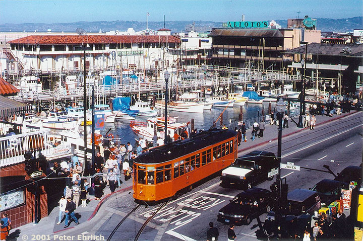 (182k, 720x479)<br><b>Country:</b> United States<br><b>City:</b> San Francisco/Bay Area, CA<br><b>System:</b> SF MUNI<br><b>Location:</b> Jefferson/Fishermans Wharf <br><b>Car:</b> Milan Milano/Peter Witt (1927-1930)  1793 <br><b>Photo by:</b> Peter Ehrlich<br><b>Date:</b> 4/18/2000<br><b>Notes:</b> View from Anchorage parking garage.<br><b>Viewed (this week/total):</b> 4 / 2081
