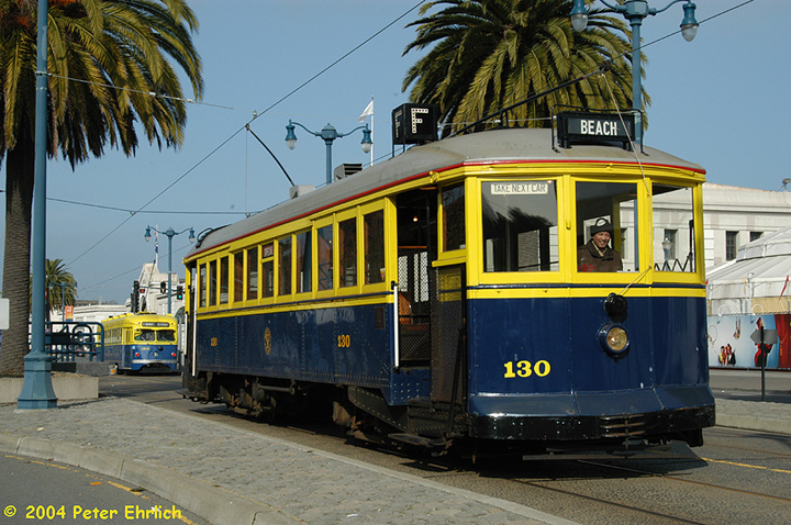 (190k, 720x478)<br><b>Country:</b> United States<br><b>City:</b> San Francisco/Bay Area, CA<br><b>System:</b> SF MUNI<br><b>Location:</b> Embarcadero/Sansome <br><b>Car:</b> SF MUNI B-Type (Jewett Car Co, 1914)  130 <br><b>Photo by:</b> Peter Ehrlich<br><b>Date:</b> 1/13/2004<br><b>Notes:</b> With PCC 1010<br><b>Viewed (this week/total):</b> 0 / 2724