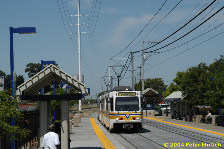 (146k, 720x478)<br><b>Country:</b> United States<br><b>City:</b> Sacramento, CA<br><b>System:</b> SACRT Light Rail<br><b>Location:</b> College Greens <br><b>Car:</b> Sacramento Siemens LRV  130 <br><b>Photo by:</b> Peter Ehrlich<br><b>Date:</b> 6/28/2004<br><b>Viewed (this week/total):</b> 0 / 1067