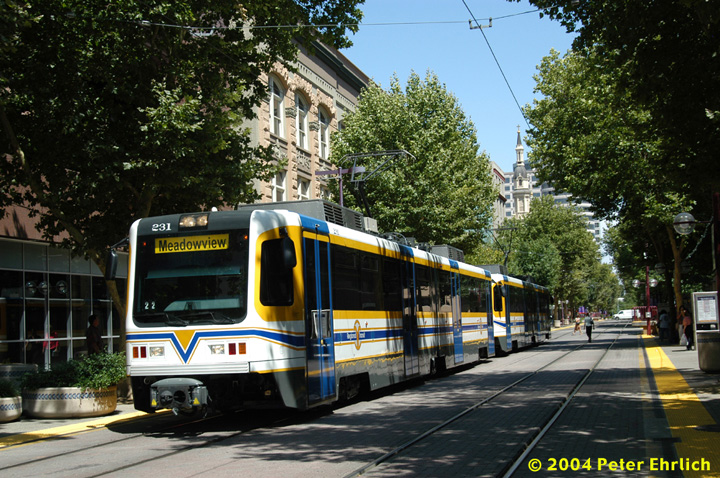 (212k, 720x478)<br><b>Country:</b> United States<br><b>City:</b> Sacramento, CA<br><b>System:</b> SACRT Light Rail<br><b>Location:</b> 8th & K <br><b>Car:</b> Sacramento CAF LRV  231 <br><b>Photo by:</b> Peter Ehrlich<br><b>Date:</b> 6/28/2004<br><b>Viewed (this week/total):</b> 1 / 1377