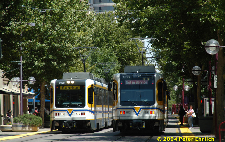 (217k, 720x454)<br><b>Country:</b> United States<br><b>City:</b> Sacramento, CA<br><b>System:</b> SACRT Light Rail<br><b>Location:</b> 8th & K <br><b>Car:</b> Sacramento CAF LRV  232/236 <br><b>Photo by:</b> Peter Ehrlich<br><b>Date:</b> 6/28/2004<br><b>Notes:</b> The eastbound (for northbound trains) St. Rose of Lima Park Station platform is located between 8th and 9th Streets.<br><b>Viewed (this week/total):</b> 1 / 1558