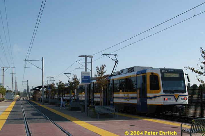 (120k, 720x478)<br><b>Country:</b> United States<br><b>City:</b> Sacramento, CA<br><b>System:</b> SACRT Light Rail<br><b>Location:</b> City College <br><b>Car:</b> Sacramento CAF LRV  204 <br><b>Photo by:</b> Peter Ehrlich<br><b>Date:</b> 6/28/2004<br><b>Viewed (this week/total):</b> 0 / 1273