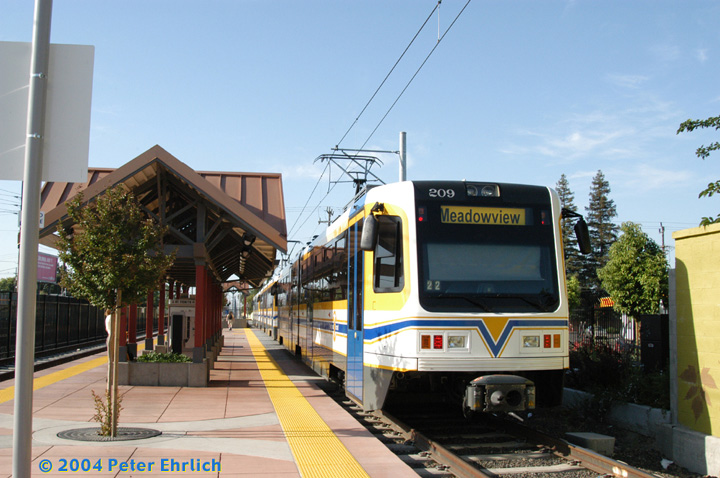(150k, 720x478)<br><b>Country:</b> United States<br><b>City:</b> Sacramento, CA<br><b>System:</b> SACRT Light Rail<br><b>Location:</b> Fruitridge <br><b>Car:</b> Sacramento CAF LRV  209 <br><b>Photo by:</b> Peter Ehrlich<br><b>Date:</b> 6/28/2004<br><b>Viewed (this week/total):</b> 0 / 1239