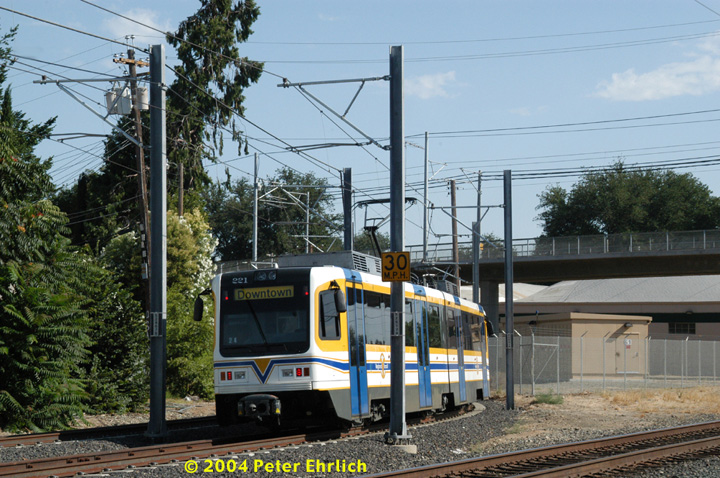 (184k, 720x478)<br><b>Country:</b> United States<br><b>City:</b> Sacramento, CA<br><b>System:</b> SACRT Light Rail<br><b>Location:</b> Bee Junction/Bee Bridge <br><b>Car:</b> Sacramento CAF LRV  221 <br><b>Photo by:</b> Peter Ehrlich<br><b>Date:</b> 6/28/2004<br><b>Viewed (this week/total):</b> 2 / 1083