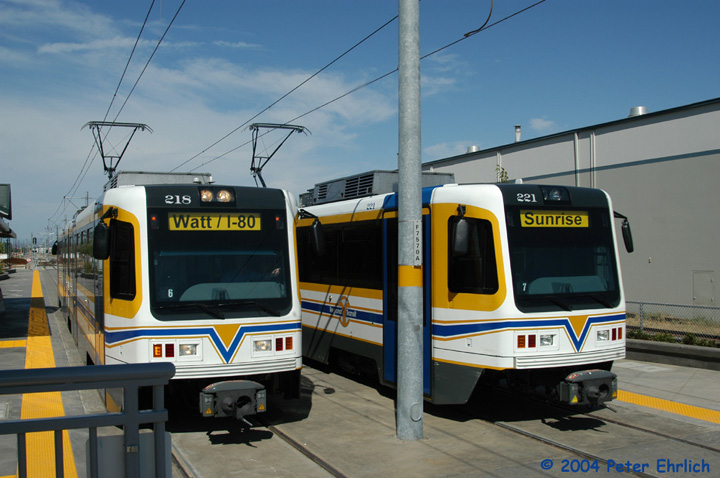(134k, 720x478)<br><b>Country:</b> United States<br><b>City:</b> Sacramento, CA<br><b>System:</b> SACRT Light Rail<br><b>Location:</b> Sunrise <br><b>Car:</b> Sacramento CAF LRV  218/221 <br><b>Photo by:</b> Peter Ehrlich<br><b>Date:</b> 6/27/2004<br><b>Viewed (this week/total):</b> 2 / 1125