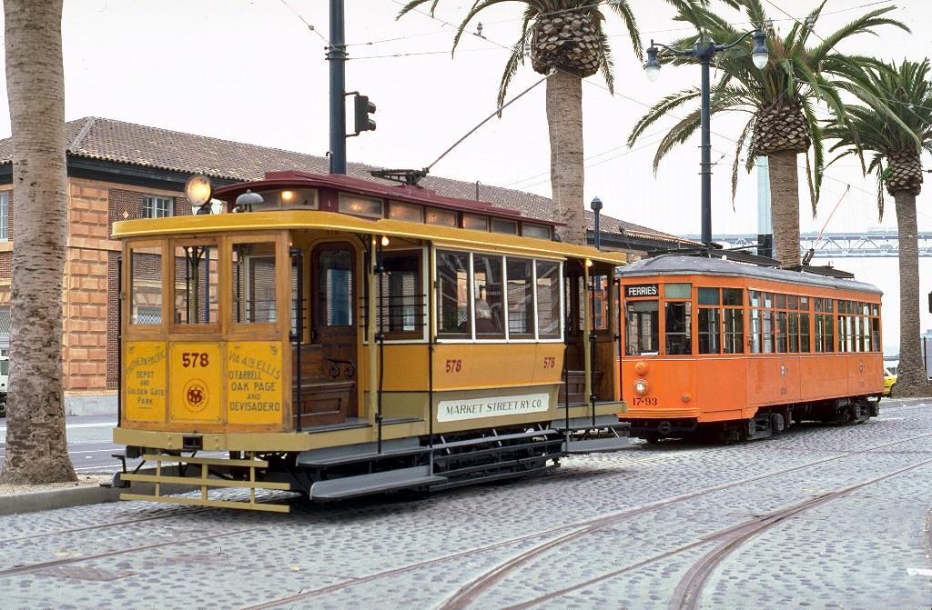 (274k, 1024x671)<br><b>Country:</b> United States<br><b>City:</b> San Francisco/Bay Area, CA<br><b>System:</b> SF MUNI<br><b>Location:</b> Embarcadero/Ferry Building <br><b>Car:</b> SF Market Street Railway/United Railroads Dinky (Hammond Car Co., 1895)  578S <br><b>Photo by:</b> Peter Ehrlich<br><b>Date:</b> 7/11/2000<br><b>Viewed (this week/total):</b> 8 / 3426