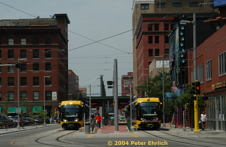 (144k, 720x468)<br><b>Country:</b> United States<br><b>City:</b> Minneapolis, MN<br><b>System:</b> MNDOT Light Rail Transit<br><b>Line:</b> Hiawatha Line<br><b>Location:</b> <b><u>Warehouse District/Hennepin Ave </b></u><br><b>Car:</b> Bombardier Flexity Swift  102/113 <br><b>Photo by:</b> Peter Ehrlich<br><b>Date:</b> 8/2/2004<br><b>Viewed (this week/total):</b> 2 / 2348