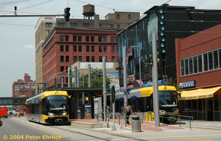 (165k, 720x461)<br><b>Country:</b> United States<br><b>City:</b> Minneapolis, MN<br><b>System:</b> MNDOT Light Rail Transit<br><b>Line:</b> Hiawatha Line<br><b>Location:</b> <b><u>Warehouse District/Hennepin Ave </b></u><br><b>Car:</b> Bombardier Flexity Swift  102/113 <br><b>Photo by:</b> Peter Ehrlich<br><b>Date:</b> 8/2/2004<br><b>Viewed (this week/total):</b> 3 / 2496