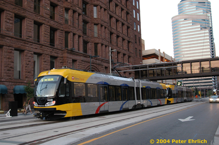 (160k, 720x478)<br><b>Country:</b> United States<br><b>City:</b> Minneapolis, MN<br><b>System:</b> MNDOT Light Rail Transit<br><b>Line:</b> Hiawatha Line<br><b>Location:</b> <b><u>Warehouse District/Hennepin Ave </b></u><br><b>Car:</b> Bombardier Flexity Swift  102 <br><b>Photo by:</b> Peter Ehrlich<br><b>Date:</b> 8/1/2004<br><b>Viewed (this week/total):</b> 5 / 2557