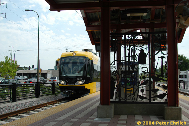 (156k, 720x478)<br><b>Country:</b> United States<br><b>City:</b> Minneapolis, MN<br><b>System:</b> MNDOT Light Rail Transit<br><b>Line:</b> Hiawatha Line<br><b>Location:</b> <b><u>38th Street </b></u><br><b>Car:</b> Bombardier Flexity Swift  102 <br><b>Photo by:</b> Peter Ehrlich<br><b>Date:</b> 8/2/2004<br><b>Viewed (this week/total):</b> 1 / 1237