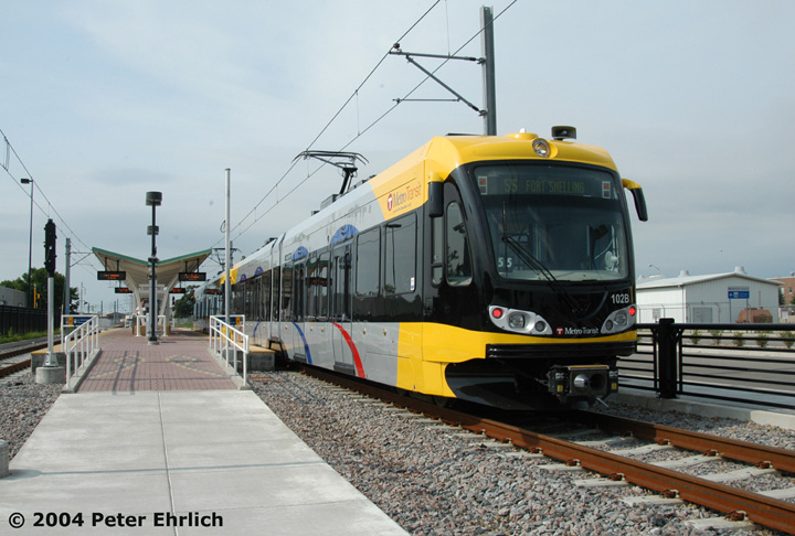 (139k, 720x486)<br><b>Country:</b> United States<br><b>City:</b> Minneapolis, MN<br><b>System:</b> MNDOT Light Rail Transit<br><b>Line:</b> Hiawatha Line<br><b>Location:</b> <b><u>Fort Snelling </b></u><br><b>Car:</b> Bombardier Flexity Swift  102 <br><b>Photo by:</b> Peter Ehrlich<br><b>Date:</b> 8/1/2004<br><b>Viewed (this week/total):</b> 0 / 1422