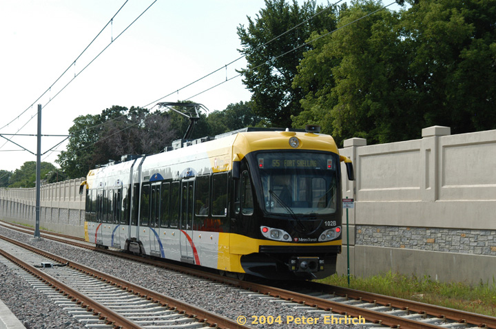 (171k, 720x478)<br><b>Country:</b> United States<br><b>City:</b> Minneapolis, MN<br><b>System:</b> MNDOT Light Rail Transit<br><b>Line:</b> Hiawatha Line<br><b>Location:</b> <b><u>50th Street/Minnehaha Park </b></u><br><b>Car:</b> Bombardier Flexity Swift  102 <br><b>Photo by:</b> Peter Ehrlich<br><b>Date:</b> 8/2/2004<br><b>Viewed (this week/total):</b> 0 / 1641