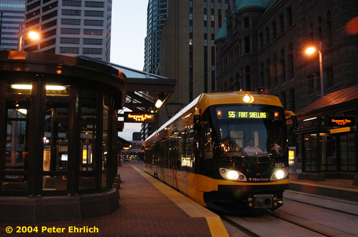 (142k, 720x478)<br><b>Country:</b> United States<br><b>City:</b> Minneapolis, MN<br><b>System:</b> MNDOT Light Rail Transit<br><b>Line:</b> Hiawatha Line<br><b>Location:</b> <b><u>Government Plaza </b></u><br><b>Car:</b> Bombardier Flexity Swift  107 <br><b>Photo by:</b> Peter Ehrlich<br><b>Date:</b> 8/1/2004<br><b>Viewed (this week/total):</b> 1 / 1950