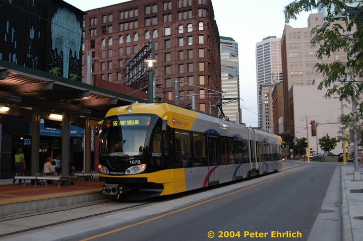 (164k, 720x478)<br><b>Country:</b> United States<br><b>City:</b> Minneapolis, MN<br><b>System:</b> MNDOT Light Rail Transit<br><b>Line:</b> Hiawatha Line<br><b>Location:</b> <b><u>Warehouse District/Hennepin Ave </b></u><br><b>Car:</b> Bombardier Flexity Swift  107 <br><b>Photo by:</b> Peter Ehrlich<br><b>Date:</b> 8/1/2004<br><b>Viewed (this week/total):</b> 0 / 4335