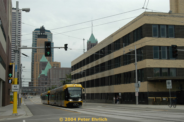(133k, 720x478)<br><b>Country:</b> United States<br><b>City:</b> Minneapolis, MN<br><b>System:</b> MNDOT Light Rail Transit<br><b>Line:</b> Hiawatha Line<br><b>Location:</b> S. 5th Street/Park Avenue <br><b>Car:</b> Bombardier Flexity Swift  109 <br><b>Photo by:</b> Peter Ehrlich<br><b>Date:</b> 8/2/2004<br><b>Viewed (this week/total):</b> 0 / 1240