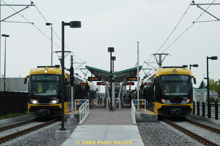 (132k, 720x478)<br><b>Country:</b> United States<br><b>City:</b> Minneapolis, MN<br><b>System:</b> MNDOT Light Rail Transit<br><b>Line:</b> Hiawatha Line<br><b>Location:</b> <b><u>Fort Snelling </b></u><br><b>Car:</b> Bombardier Flexity Swift  110/106 <br><b>Photo by:</b> Peter Ehrlich<br><b>Date:</b> 8/1/2004<br><b>Viewed (this week/total):</b> 3 / 1922