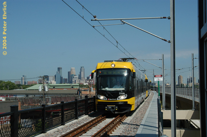 (133k, 720x478)<br><b>Country:</b> United States<br><b>City:</b> Minneapolis, MN<br><b>System:</b> MNDOT Light Rail Transit<br><b>Line:</b> Hiawatha Line<br><b>Location:</b> <b><u>Lake Street/Midtown </b></u><br><b>Car:</b> Bombardier Flexity Swift  110 <br><b>Photo by:</b> Peter Ehrlich<br><b>Date:</b> 8/2/2004<br><b>Viewed (this week/total):</b> 2 / 1657