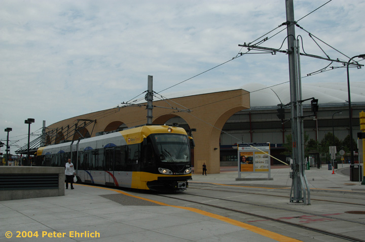 (112k, 720x478)<br><b>Country:</b> United States<br><b>City:</b> Minneapolis, MN<br><b>System:</b> MNDOT Light Rail Transit<br><b>Line:</b> Hiawatha Line<br><b>Location:</b> <b><u>Downtown East/Metrodome </b></u><br><b>Car:</b> Bombardier Flexity Swift  111 <br><b>Photo by:</b> Peter Ehrlich<br><b>Date:</b> 8/2/2004<br><b>Viewed (this week/total):</b> 1 / 1526