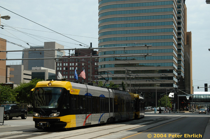 (149k, 720x478)<br><b>Country:</b> United States<br><b>City:</b> Minneapolis, MN<br><b>System:</b> MNDOT Light Rail Transit<br><b>Line:</b> Hiawatha Line<br><b>Location:</b> <b><u>Nicollet Mall </b></u><br><b>Car:</b> Bombardier Flexity Swift  114 <br><b>Photo by:</b> Peter Ehrlich<br><b>Date:</b> 8/2/2004<br><b>Viewed (this week/total):</b> 0 / 1559