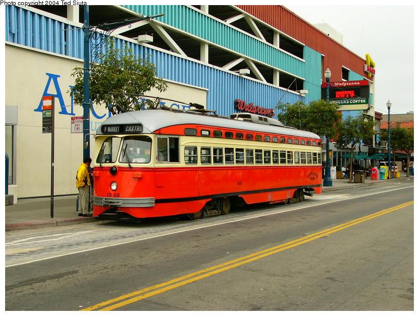 (122k, 820x620)<br><b>Country:</b> United States<br><b>City:</b> San Francisco/Bay Area, CA<br><b>System:</b> SF MUNI<br><b>Location:</b> Jones/Beach <br><b>Route:</b> F-Market<br><b>Car:</b> SF MUNI PCC (Ex-SEPTA) (St. Louis Car Co., 1947-1948)  1059 <br><b>Photo by:</b> Ted Siuta<br><b>Date:</b> 8/19/2004<br><b>Viewed (this week/total):</b> 5 / 3205
