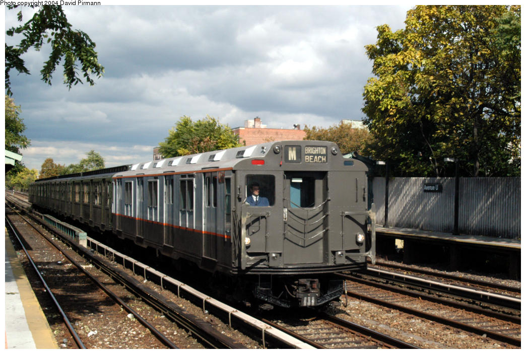 (200k, 1044x703)<br><b>Country:</b> United States<br><b>City:</b> New York<br><b>System:</b> New York City Transit<br><b>Line:</b> BMT Brighton Line<br><b>Location:</b> Avenue U <br><b>Route:</b> Fan Trip<br><b>Car:</b> R-7A (Pullman, 1938)  1575 <br><b>Photo by:</b> David Pirmann<br><b>Date:</b> 10/23/2004<br><b>Viewed (this week/total):</b> 0 / 4343