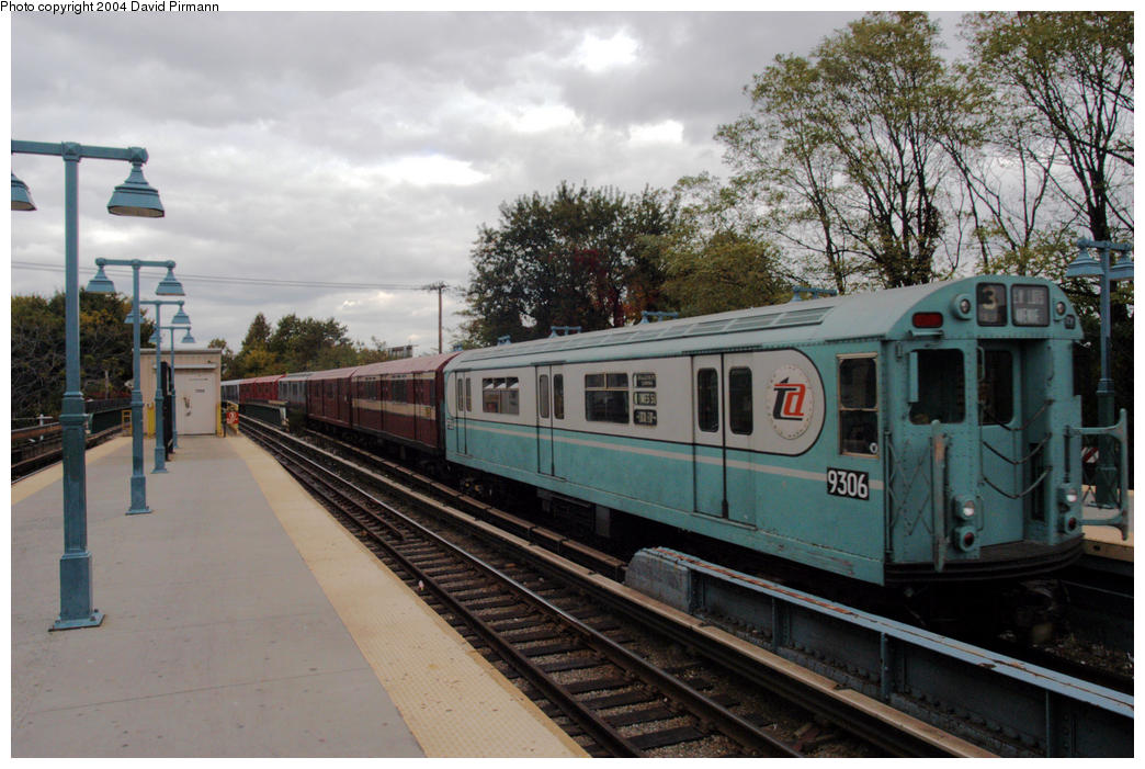 (198k, 1044x701)<br><b>Country:</b> United States<br><b>City:</b> New York<br><b>System:</b> New York City Transit<br><b>Line:</b> BMT Brighton Line<br><b>Location:</b> Sheepshead Bay <br><b>Route:</b> Fan Trip<br><b>Car:</b> R-33 World's Fair (St. Louis, 1963-64) 9306 <br><b>Photo by:</b> David Pirmann<br><b>Date:</b> 10/23/2004<br><b>Viewed (this week/total):</b> 3 / 3332