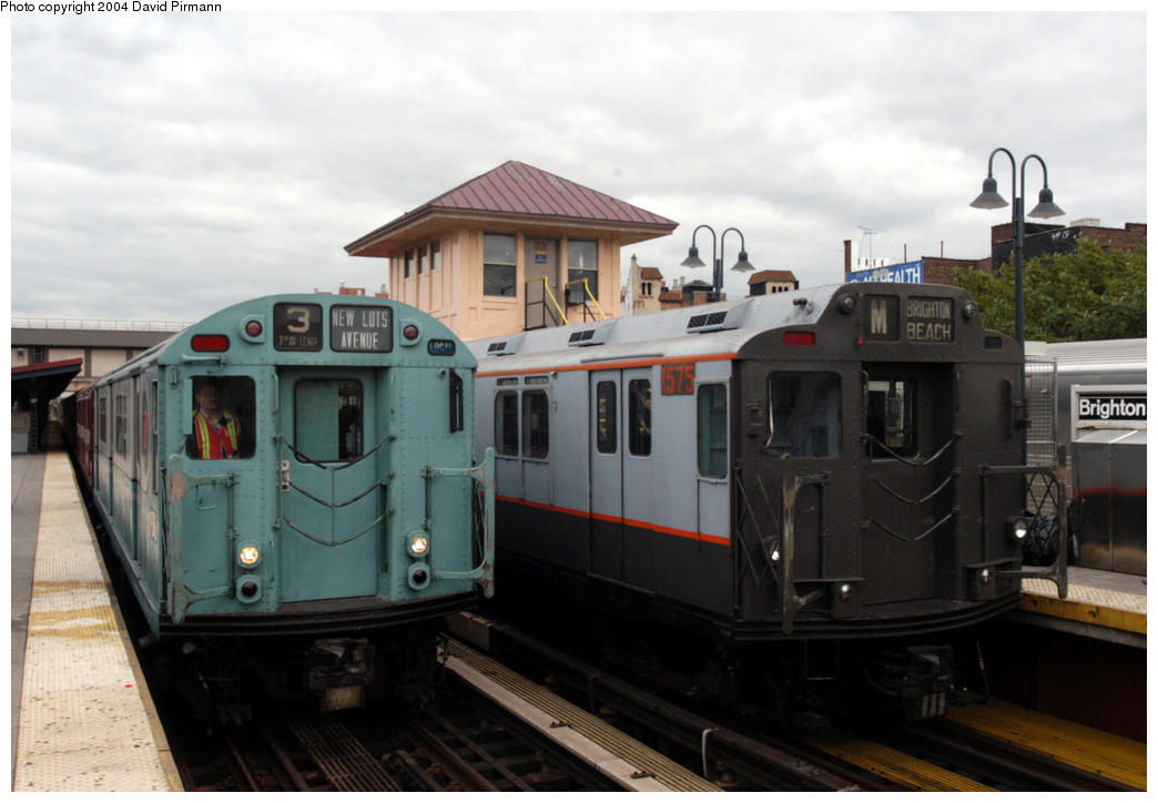 (150k, 1044x724)<br><b>Country:</b> United States<br><b>City:</b> New York<br><b>System:</b> New York City Transit<br><b>Line:</b> BMT Brighton Line<br><b>Location:</b> Brighton Beach <br><b>Route:</b> Fan Trip<br><b>Car:</b> R-33 World's Fair (St. Louis, 1963-64) 9306/1575 <br><b>Photo by:</b> David Pirmann<br><b>Date:</b> 10/23/2004<br><b>Viewed (this week/total):</b> 1 / 4573