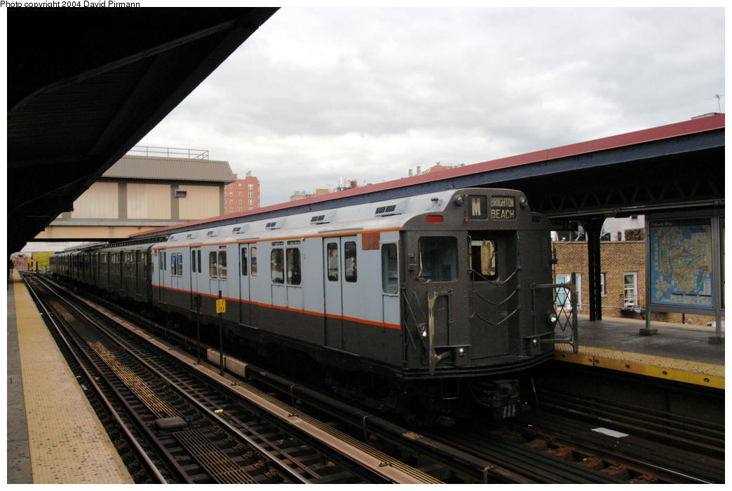 (157k, 1044x701)<br><b>Country:</b> United States<br><b>City:</b> New York<br><b>System:</b> New York City Transit<br><b>Line:</b> BMT Brighton Line<br><b>Location:</b> Brighton Beach <br><b>Route:</b> Fan Trip<br><b>Car:</b> R-7A (Pullman, 1938)  1575 <br><b>Photo by:</b> David Pirmann<br><b>Date:</b> 10/23/2004<br><b>Viewed (this week/total):</b> 5 / 2598