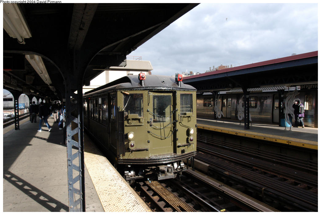 (168k, 1044x701)<br><b>Country:</b> United States<br><b>City:</b> New York<br><b>System:</b> New York City Transit<br><b>Line:</b> BMT Brighton Line<br><b>Location:</b> Brighton Beach <br><b>Route:</b> Fan Trip<br><b>Car:</b> Low-V (Museum Train) 5292 <br><b>Photo by:</b> David Pirmann<br><b>Date:</b> 10/23/2004<br><b>Viewed (this week/total):</b> 0 / 3548