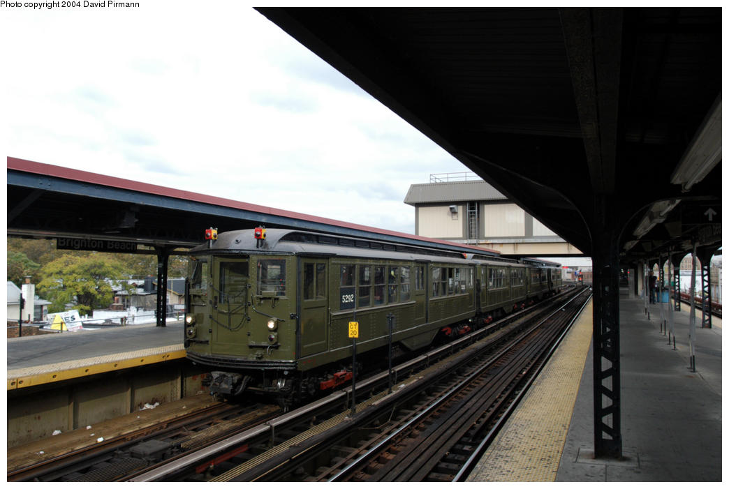 (156k, 1044x701)<br><b>Country:</b> United States<br><b>City:</b> New York<br><b>System:</b> New York City Transit<br><b>Line:</b> BMT Brighton Line<br><b>Location:</b> Brighton Beach <br><b>Route:</b> Fan Trip<br><b>Car:</b> Low-V (Museum Train) 5292 <br><b>Photo by:</b> David Pirmann<br><b>Date:</b> 10/23/2004<br><b>Viewed (this week/total):</b> 3 / 3820