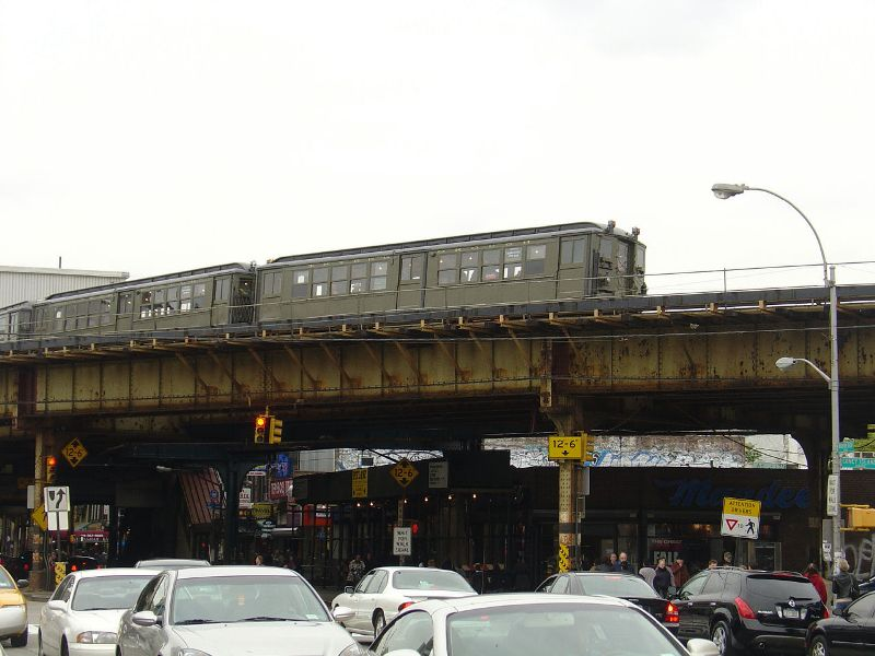 (72k, 800x600)<br><b>Country:</b> United States<br><b>City:</b> New York<br><b>System:</b> New York City Transit<br><b>Line:</b> BMT Brighton Line<br><b>Location:</b> Brighton Beach <br><b>Route:</b> Fan Trip<br><b>Car:</b> Low-V (Museum Train) 5483 <br><b>Photo by:</b> Fred Guenther<br><b>Date:</b> 10/24/2004<br><b>Viewed (this week/total):</b> 0 / 5380