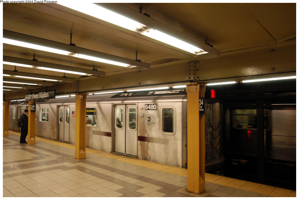 (156k, 1044x701)<br><b>Country:</b> United States<br><b>City:</b> New York<br><b>System:</b> New York City Transit<br><b>Line:</b> IRT West Side Line<br><b>Location:</b> 34th Street/Penn Station <br><b>Route:</b> 2<br><b>Car:</b> R-142 (Primary Order, Bombardier, 1999-2002)  6480 <br><b>Photo by:</b> David Pirmann<br><b>Date:</b> 10/29/2004<br><b>Viewed (this week/total):</b> 0 / 4294