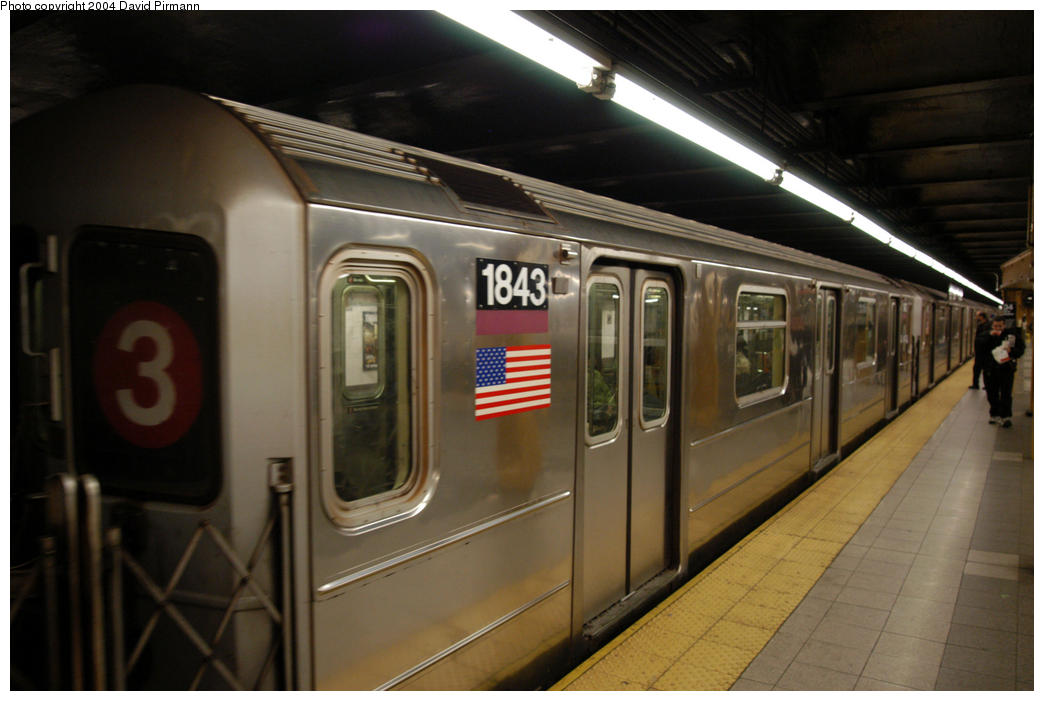 (148k, 1044x701)<br><b>Country:</b> United States<br><b>City:</b> New York<br><b>System:</b> New York City Transit<br><b>Line:</b> IRT West Side Line<br><b>Location:</b> 34th Street/Penn Station <br><b>Route:</b> 3<br><b>Car:</b> R-62A (Bombardier, 1984-1987)  1843 <br><b>Photo by:</b> David Pirmann<br><b>Date:</b> 10/29/2004<br><b>Viewed (this week/total):</b> 0 / 2825