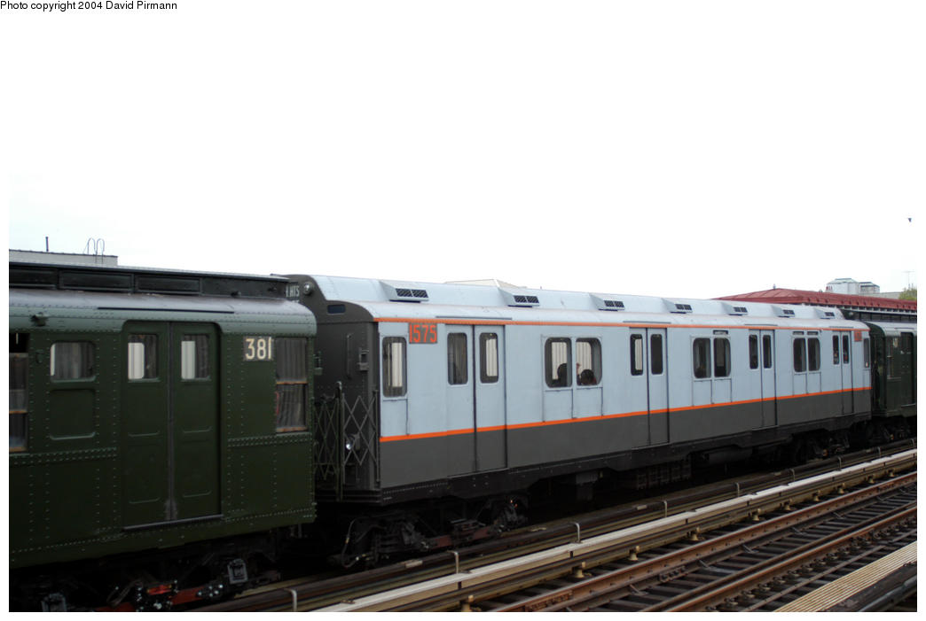(112k, 1044x701)<br><b>Country:</b> United States<br><b>City:</b> New York<br><b>System:</b> New York City Transit<br><b>Line:</b> BMT Astoria Line<br><b>Location:</b> 30th/Grand Aves. <br><b>Route:</b> In service Canal St.-Ditmars Ave.<br><b>Car:</b> R-7A (Pullman, 1938)  1575 <br><b>Photo by:</b> David Pirmann<br><b>Date:</b> 10/29/2004<br><b>Viewed (this week/total):</b> 3 / 2041