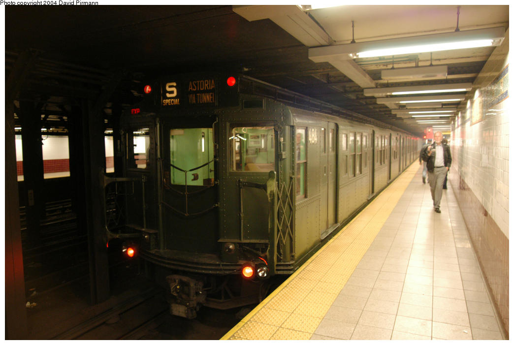 (149k, 1044x701)<br><b>Country:</b> United States<br><b>City:</b> New York<br><b>System:</b> New York City Transit<br><b>Line:</b> BMT Broadway Line<br><b>Location:</b> Canal Street <br><b>Route:</b> Fan Trip<br><b>Car:</b> R-4 (American Car & Foundry, 1932-1933) 484 <br><b>Photo by:</b> David Pirmann<br><b>Date:</b> 10/29/2004<br><b>Notes:</b> Train in regular passenger service, technically not a fan trip.<br><b>Viewed (this week/total):</b> 0 / 3555