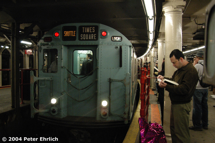 (135k, 720x478)<br><b>Country:</b> United States<br><b>City:</b> New York<br><b>System:</b> New York City Transit<br><b>Line:</b> IRT Times Square-Grand Central Shuttle<br><b>Location:</b> Times Square <br><b>Route:</b> Museum Train Service (S)<br><b>Car:</b> R-33 World's Fair (St. Louis, 1963-64) 9306 <br><b>Photo by:</b> Peter Ehrlich<br><b>Date:</b> 10/27/2004<br><b>Notes:</b> Train in regular passenger service, technically not a fan trip.<br><b>Viewed (this week/total):</b> 0 / 4144