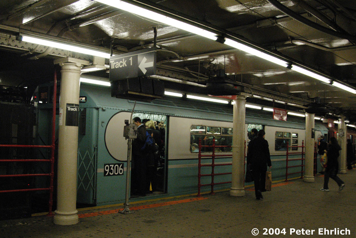 (167k, 720x482)<br><b>Country:</b> United States<br><b>City:</b> New York<br><b>System:</b> New York City Transit<br><b>Line:</b> IRT Times Square-Grand Central Shuttle<br><b>Location:</b> Times Square <br><b>Route:</b> Museum Train Service (S)<br><b>Car:</b> R-33 World's Fair (St. Louis, 1963-64) 9306 <br><b>Photo by:</b> Peter Ehrlich<br><b>Date:</b> 10/27/2004<br><b>Notes:</b> Train in regular passenger service, technically not a fan trip.<br><b>Viewed (this week/total):</b> 3 / 3606