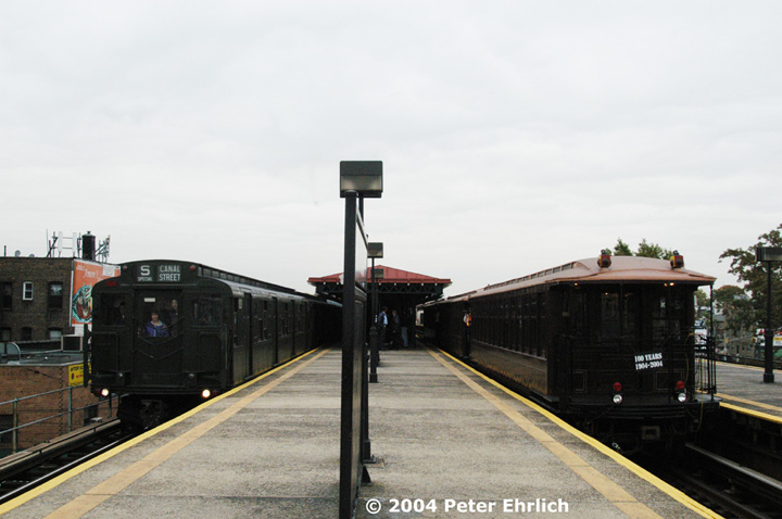 (108k, 720x478)<br><b>Country:</b> United States<br><b>City:</b> New York<br><b>System:</b> New York City Transit<br><b>Line:</b> BMT Astoria Line<br><b>Location:</b> Astoria Boulevard/Hoyt Avenue <br><b>Route:</b> Fan Trip<br><b>Car:</b> R-1 (American Car & Foundry, 1930-1931) 100 <br><b>Photo by:</b> Peter Ehrlich<br><b>Date:</b> 10/29/2004<br><b>Notes:</b> R1/9 train in service to Canal St.; BU's in excursion service.<br><b>Viewed (this week/total):</b> 7 / 2715