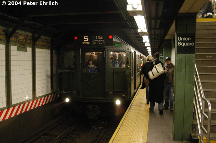 (135k, 720x478)<br><b>Country:</b> United States<br><b>City:</b> New York<br><b>System:</b> New York City Transit<br><b>Line:</b> BMT Broadway Line<br><b>Location:</b> 14th Street/Union Square <br><b>Route:</b> Fan Trip<br><b>Car:</b> R-1 (American Car & Foundry, 1930-1931) 100 <br><b>Photo by:</b> Peter Ehrlich<br><b>Date:</b> 10/29/2004<br><b>Notes:</b> In service Ditmars Blvd.-Canal St.<br><b>Viewed (this week/total):</b> 0 / 3256