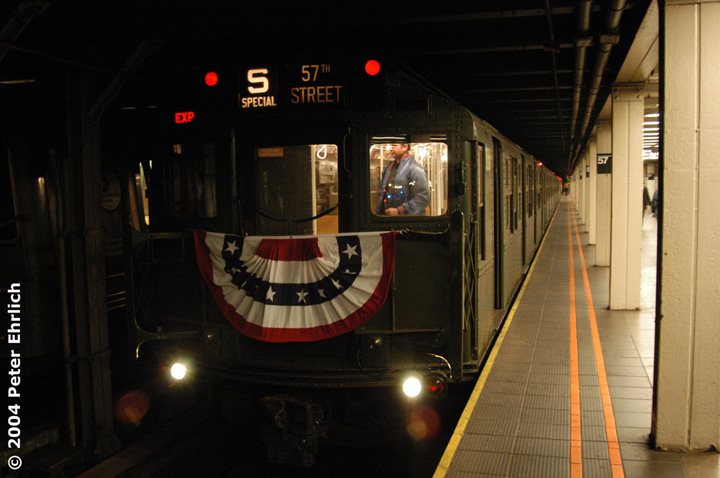 (120k, 720x478)<br><b>Country:</b> United States<br><b>City:</b> New York<br><b>System:</b> New York City Transit<br><b>Line:</b> BMT Broadway Line<br><b>Location:</b> 57th Street <br><b>Route:</b> Fan Trip<br><b>Car:</b> R-1 (American Car & Foundry, 1930-1931) 100 <br><b>Photo by:</b> Peter Ehrlich<br><b>Date:</b> 10/27/2004<br><b>Notes:</b> In service Ditmars Blvd.-Canal St.<br><b>Viewed (this week/total):</b> 2 / 2845