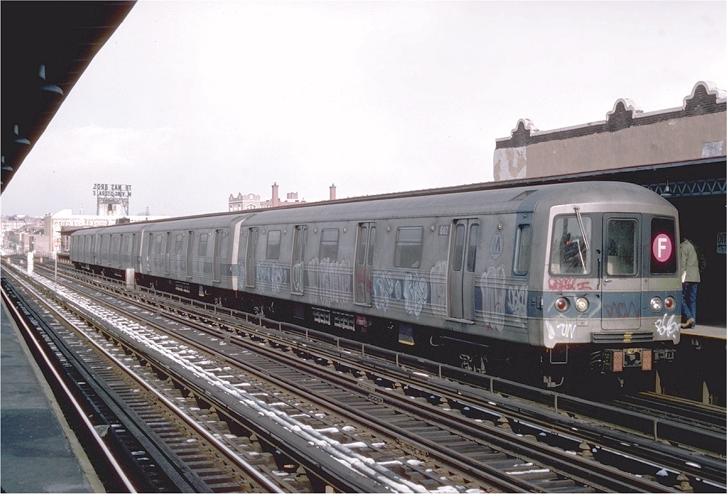 (200k, 1024x696)<br><b>Country:</b> United States<br><b>City:</b> New York<br><b>System:</b> New York City Transit<br><b>Line:</b> BMT Culver Line<br><b>Location:</b> Ditmas Avenue <br><b>Route:</b> F<br><b>Car:</b> R-46 (Pullman-Standard, 1974-75) 682 <br><b>Photo by:</b> Joe Testagrose<br><b>Date:</b> 1/26/1977<br><b>Viewed (this week/total):</b> 6 / 3512