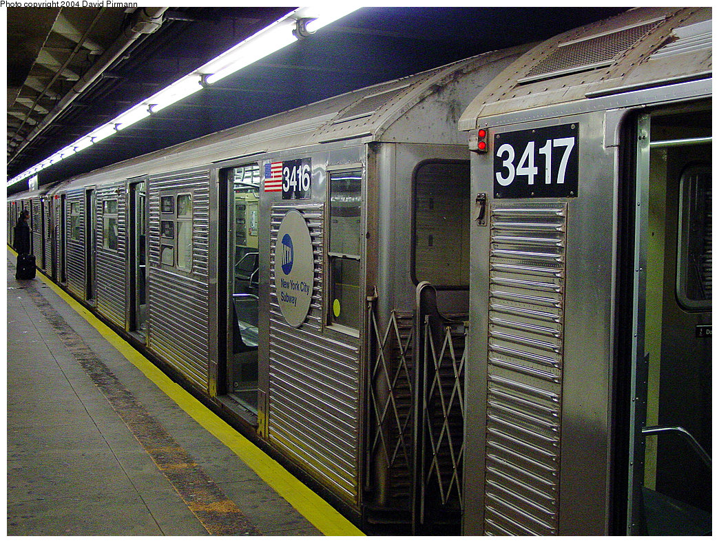 (386k, 1044x788)<br><b>Country:</b> United States<br><b>City:</b> New York<br><b>System:</b> New York City Transit<br><b>Line:</b> IND 8th Avenue Line<br><b>Location:</b> 168th Street <br><b>Route:</b> C<br><b>Car:</b> R-32 (Budd, 1964)  3416 <br><b>Photo by:</b> David Pirmann<br><b>Date:</b> 11/6/2004<br><b>Viewed (this week/total):</b> 0 / 3562
