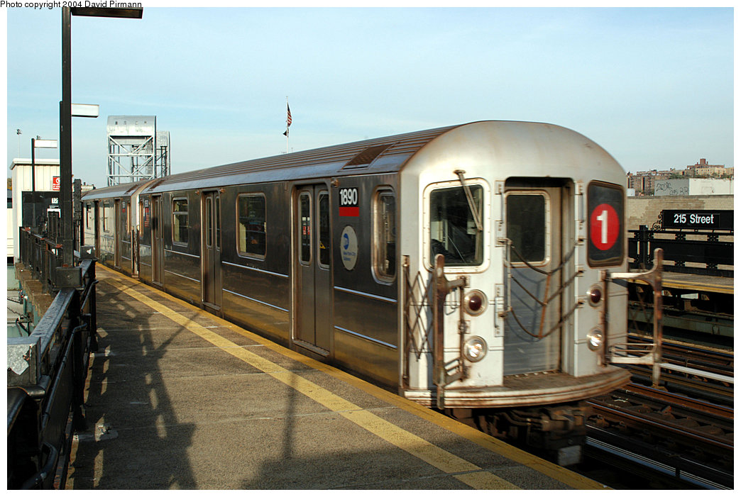 (244k, 1044x701)<br><b>Country:</b> United States<br><b>City:</b> New York<br><b>System:</b> New York City Transit<br><b>Line:</b> IRT West Side Line<br><b>Location:</b> 215th Street <br><b>Route:</b> 1<br><b>Car:</b> R-62A (Bombardier, 1984-1987)  1890 <br><b>Photo by:</b> David Pirmann<br><b>Date:</b> 11/6/2004<br><b>Viewed (this week/total):</b> 7 / 3098