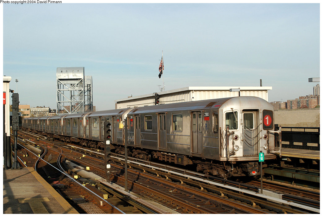 (250k, 1044x701)<br><b>Country:</b> United States<br><b>City:</b> New York<br><b>System:</b> New York City Transit<br><b>Line:</b> IRT West Side Line<br><b>Location:</b> 215th Street <br><b>Route:</b> 1<br><b>Car:</b> R-62A (Bombardier, 1984-1987)  2180 <br><b>Photo by:</b> David Pirmann<br><b>Date:</b> 11/6/2004<br><b>Viewed (this week/total):</b> 1 / 3218
