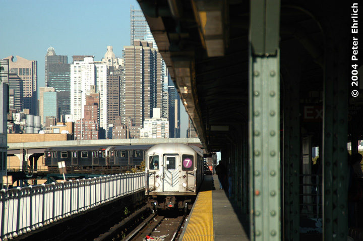 (146k, 720x478)<br><b>Country:</b> United States<br><b>City:</b> New York<br><b>System:</b> New York City Transit<br><b>Line:</b> IRT Flushing Line<br><b>Location:</b> Queensborough Plaza <br><b>Route:</b> 7<br><b>Car:</b> R-62A (Bombardier, 1984-1987)  1960 <br><b>Photo by:</b> Peter Ehrlich<br><b>Date:</b> 10/28/2004<br><b>Viewed (this week/total):</b> 0 / 4282