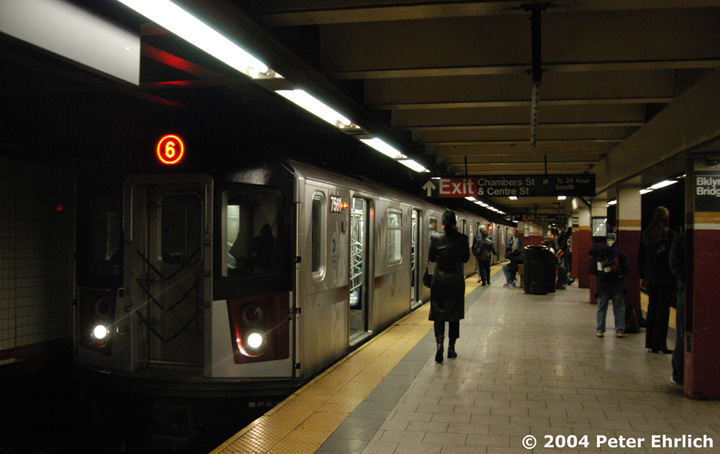 (115k, 720x454)<br><b>Country:</b> United States<br><b>City:</b> New York<br><b>System:</b> New York City Transit<br><b>Line:</b> IRT East Side Line<br><b>Location:</b> Brooklyn Bridge/City Hall <br><b>Route:</b> 6<br><b>Car:</b> R-142A (Primary Order, Kawasaki, 1999-2002)  7561 <br><b>Photo by:</b> Peter Ehrlich<br><b>Date:</b> 10/27/2004<br><b>Viewed (this week/total):</b> 0 / 5816
