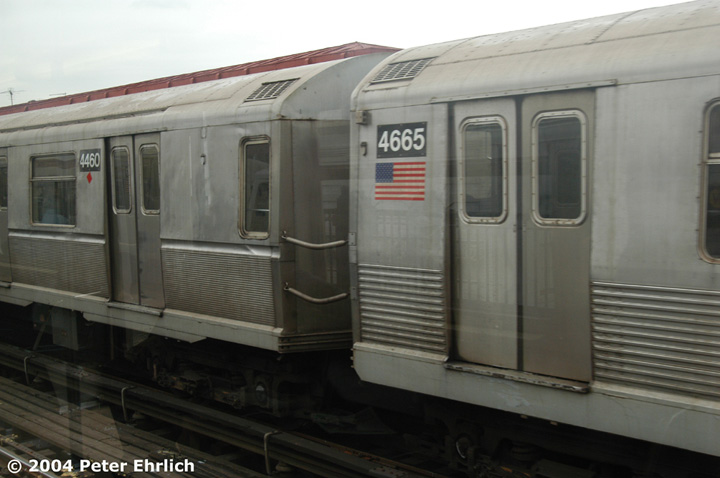 (98k, 720x478)<br><b>Country:</b> United States<br><b>City:</b> New York<br><b>System:</b> New York City Transit<br><b>Line:</b> BMT Astoria Line<br><b>Location:</b> 36th/Washington Aves. <br><b>Route:</b> W<br><b>Car:</b> R-40M (St. Louis, 1969)  4460/4665 <br><b>Photo by:</b> Peter Ehrlich<br><b>Date:</b> 10/29/2004<br><b>Notes:</b> R40M 4460 and R42 4665 have been mated and typically run with other R40M's.<br><b>Viewed (this week/total):</b> 3 / 3667