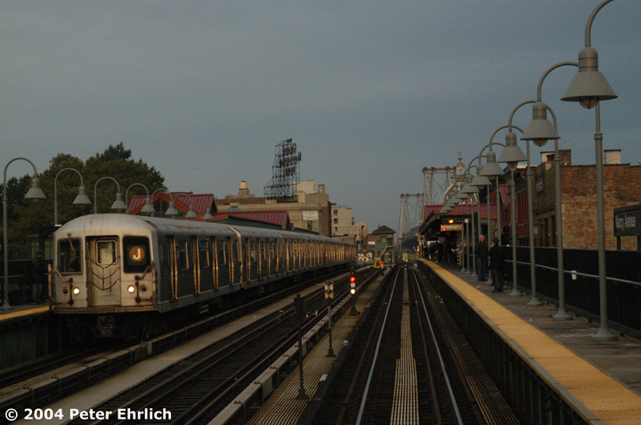 (132k, 720x478)<br><b>Country:</b> United States<br><b>City:</b> New York<br><b>System:</b> New York City Transit<br><b>Line:</b> BMT Nassau Street/Jamaica Line<br><b>Location:</b> Marcy Avenue <br><b>Route:</b> J<br><b>Car:</b> R-42 (St. Louis, 1969-1970)  4573 <br><b>Photo by:</b> Peter Ehrlich<br><b>Date:</b> 10/27/2004<br><b>Viewed (this week/total):</b> 0 / 3469