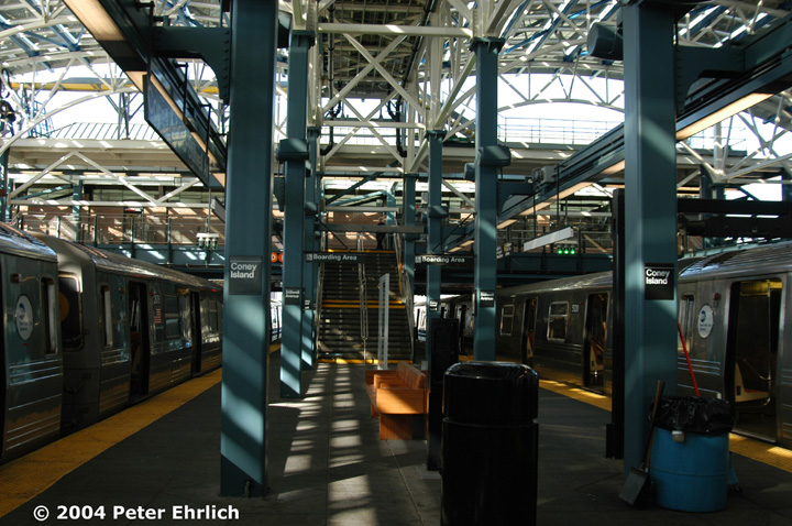 (177k, 720x478)<br><b>Country:</b> United States<br><b>City:</b> New York<br><b>System:</b> New York City Transit<br><b>Location:</b> Coney Island/Stillwell Avenue<br><b>Route:</b> Q<br><b>Car:</b> R-68/R-68A Series (Number Unknown)  <br><b>Photo by:</b> Peter Ehrlich<br><b>Date:</b> 10/28/2004<br><b>Viewed (this week/total):</b> 2 / 3340